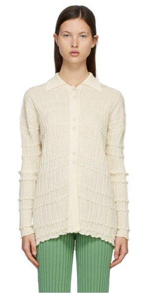 Rus ssense exclusive off-white reflet cardigan in eggshell
