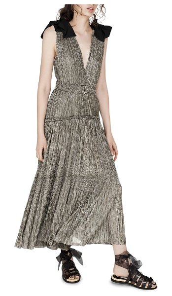 Sabina Musayev Ray Tiered Satin Dress with Bows in gold