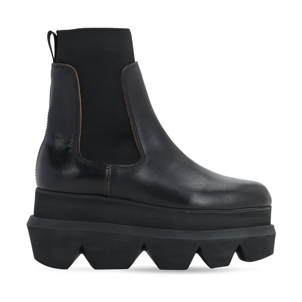 Sacai 40mm platform leather ankle boots in black