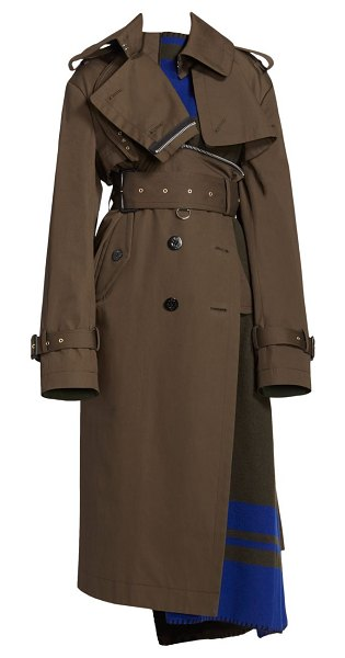 Sacai blanket trench in khaki