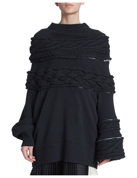 Sacai Cable-Knit Chunky Sweater in black
