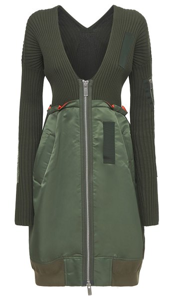 Sacai Knit cotton & nylon twill zip-up dress in khaki