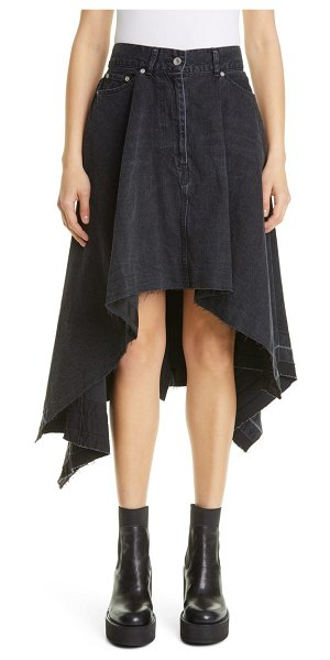 Sacai raw edge asymmetrical denim skirt in black