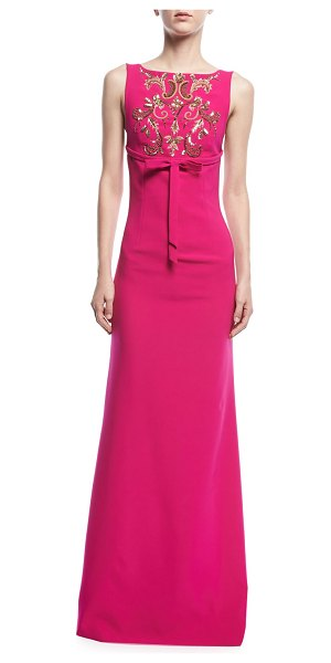"Sachin & Babi Somerset Embroidered Square-Back Gown in fuchsia - Sachin & Babi ""Somerset"" gown with embroidered front...."