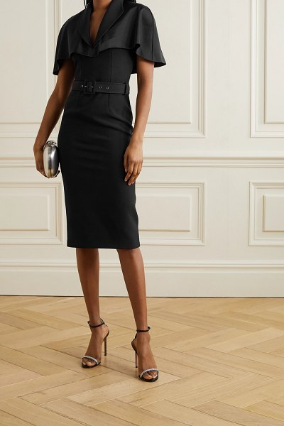 Safiyaa giada cape-effect belted crepe and satin midi dress in black