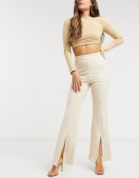 Saint Genies split front wide leg pants in ecru-cream in cream