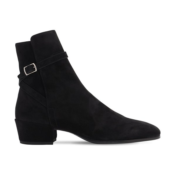 Saint Laurent 40mm clementi suede ankle boots in black
