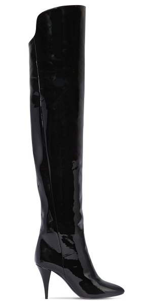Saint Laurent 85mm kiki patent leather boots in black