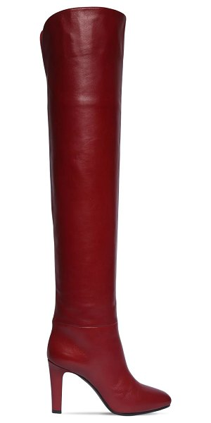 Saint Laurent 90mm jane leather over-the-knee boots in dark red