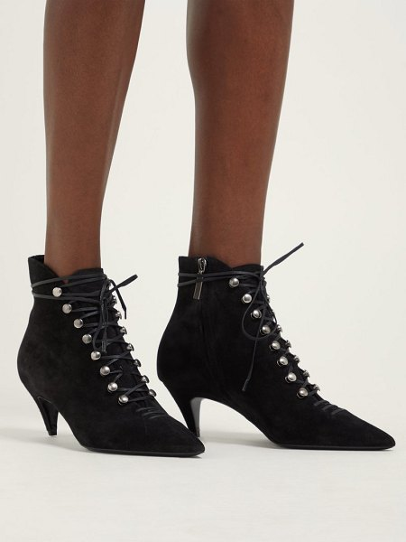 Saint Laurent ally lace up suede ankle boots in black