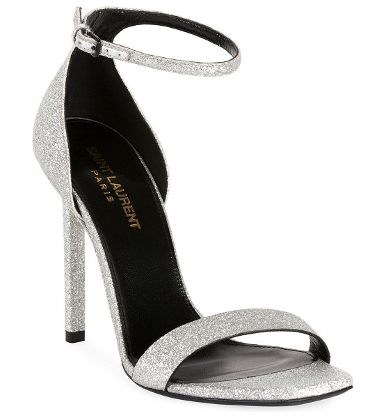 Saint Laurent Amber Glittered Strappy Sandals in gray