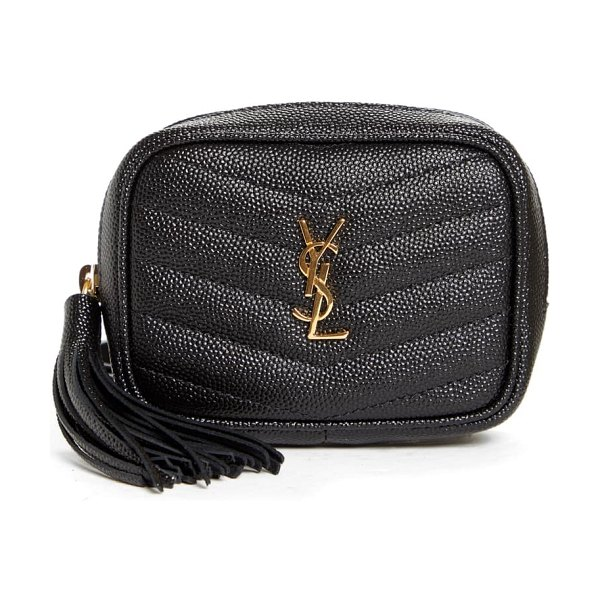Saint Laurent baby lou quilted leather micro crossbody bag in noir