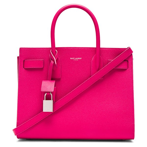 "Saint Laurent Baby Sac De Jour in pink - ""Pebbled calfskin leather with bonded smooth leather..."