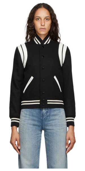 Saint Laurent black and off-white teddy bomber jacket in 1900 blk,wh