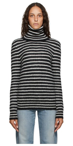 Saint Laurent black and white mohair striped turtleneck in 1095 blk,wh