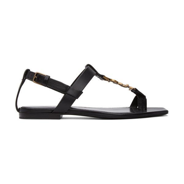 Saint Laurent black cassandra flat sandals in 1000 black