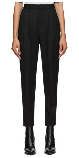 Saint Laurent black classic pleated trousers in 1000 black