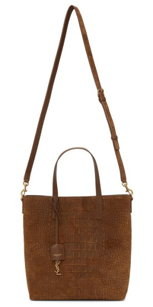 Saint Laurent brown croc toy north/south shopping tote in 2351 terre