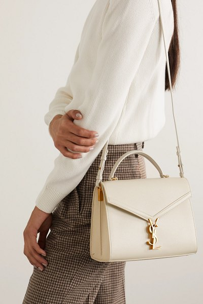 Saint Laurent cassandra medium textured-leather tote - off-white in white