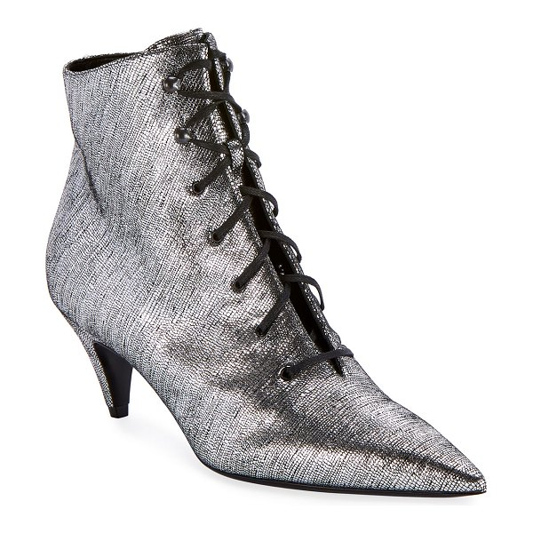 Saint Laurent Charlotte Metallic Lace-Up Booties in gray