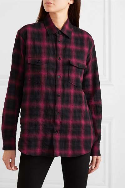 Saint Laurent checked cotton-flannel shirt in black
