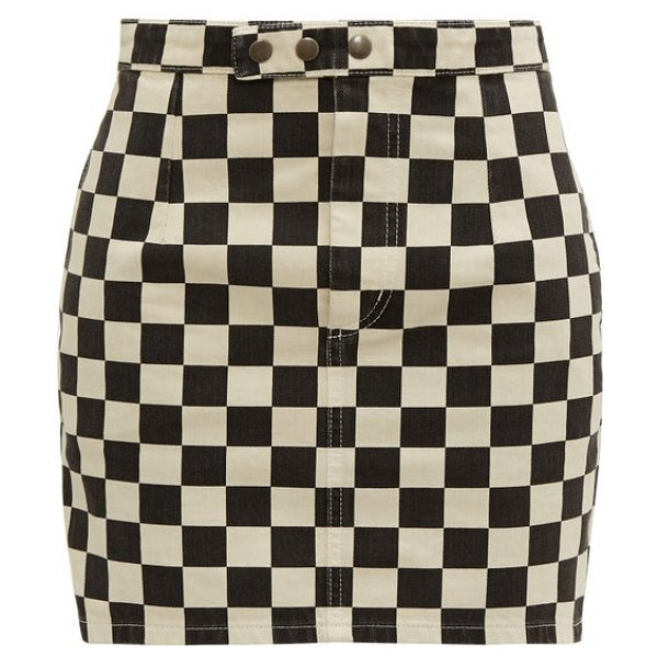 Saint Laurent checkerboard-print denim mini skirt in black white