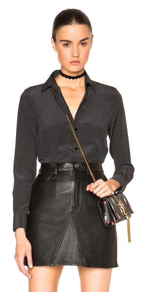 SAINT LAURENT Classic Polka Dot Paris Blouse - 100% silk.  Made in Italy.  Button front closures.