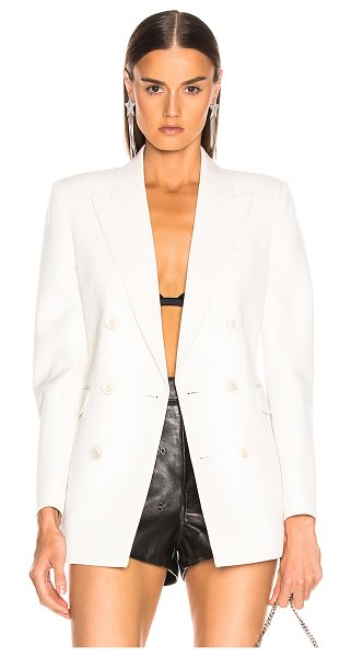 Saint Laurent Double Breasted Blazer in white - Self: 100% virgin wool - Lining & Pocket Lining: 100%...