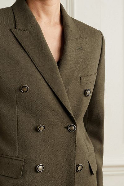 Saint Laurent double-breasted wool blazer in army green