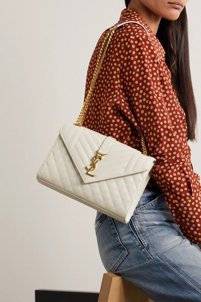 Saint Laurent envelope medium quilted textured-leather shoulder bag - off-white in white