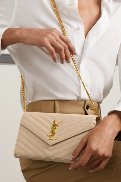 Saint Laurent envelope quilted textured-leather shoulder bag - off-white in white