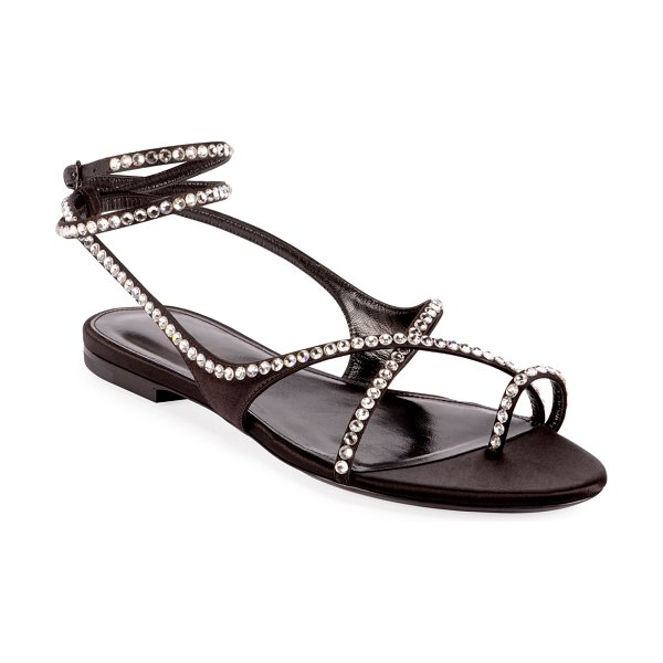Saint Laurent Gia Crystal Flat Sandals in black