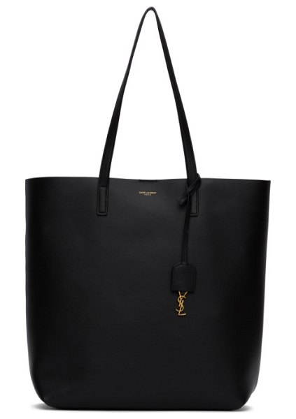 Saint Laurent grey north/south shopping tote in 1000 black