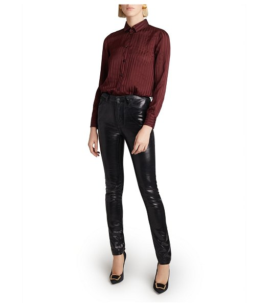 Saint Laurent High Waisted Shiny Skinny Jeans in black