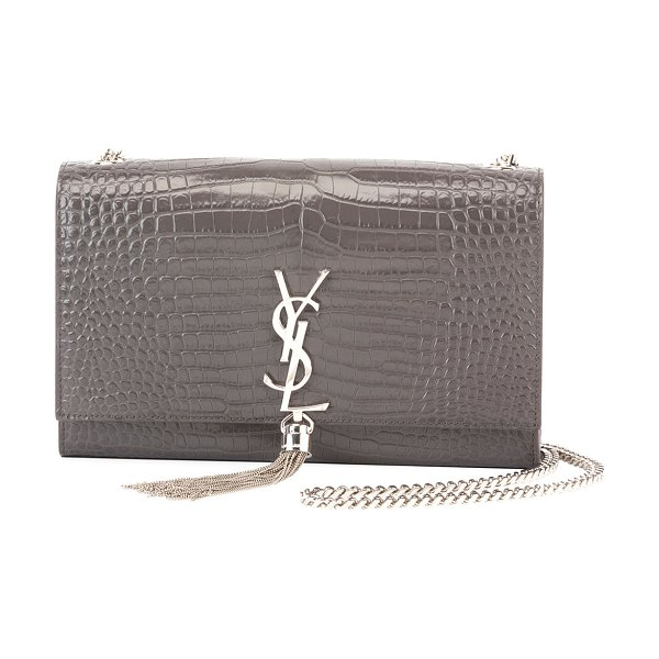 SAINT LAURENT. Kate Monogram Ysl Medium Crocodile-Embossed Tassel Shoulder  Bag d91dc0c10b