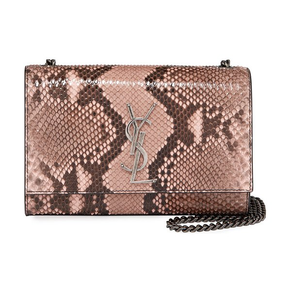 Saint Laurent Kate New Small YSL Monogram Python Crossbody Bag in blush