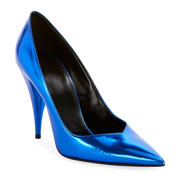 Saint Laurent Kiki Mirror Pointed Pumps in royal