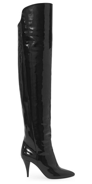 Saint Laurent kiki over-the-knee patent leather boots in nero