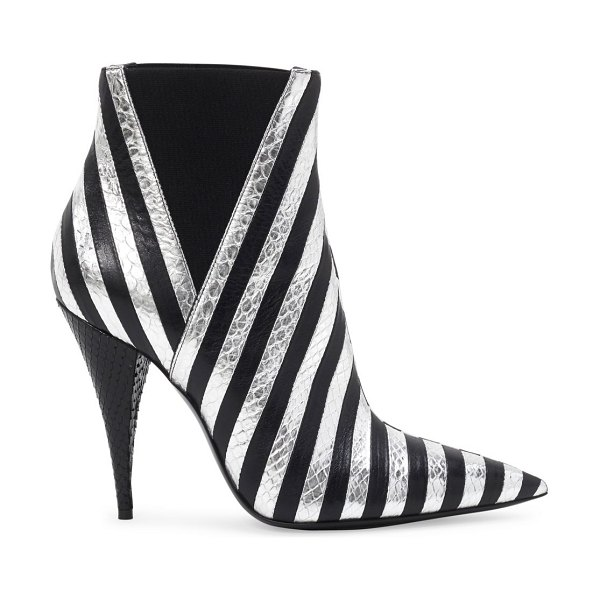 Saint Laurent kiki striped leather booties in anthracite