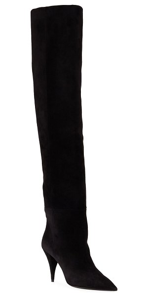 Saint Laurent Kiki Suede Over-The-Knee Boots in light brown