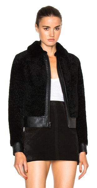 SAINT LAURENT Lamb Shearling Bomber Jacket - Self: 100% real dyed whole lamb shearling - Trim: 100%...