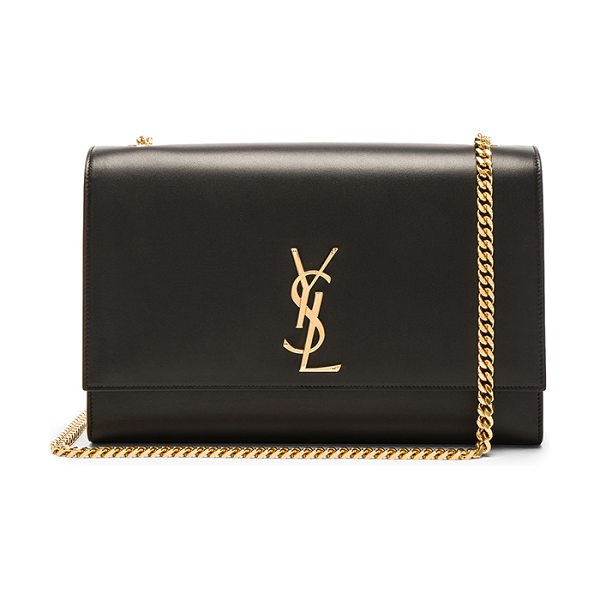 "Saint Laurent Large Boston Laquer Monogramme Kate Chain Bag in black - ""Calfskin leather with grosgrain lining and gold-tone..."