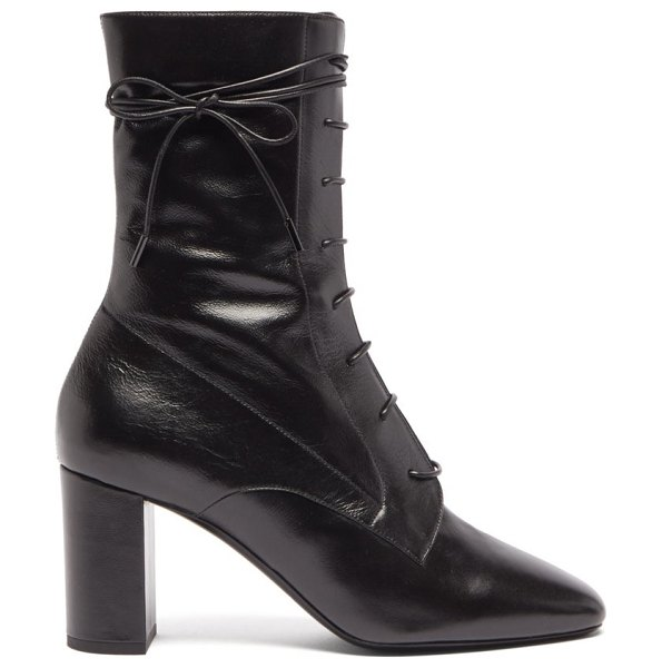 Saint Laurent laura lace-up leather ankle boots in black