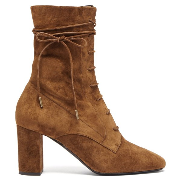 Saint Laurent laura lace-up suede boots in tan