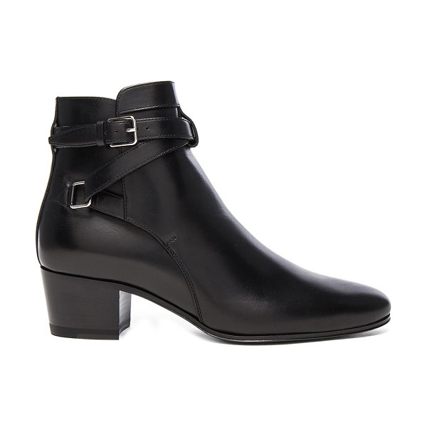 SAINT LAURENT Leather Blake Buckle Boots - Leather upper and sole.  Made in Italy.  Approx 50mm/ 2...