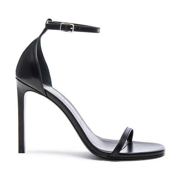 Saint Laurent Leather Jane Sandals in black - Leather upper and sole.  Made in Italy.  Approx 100mm/ 4...