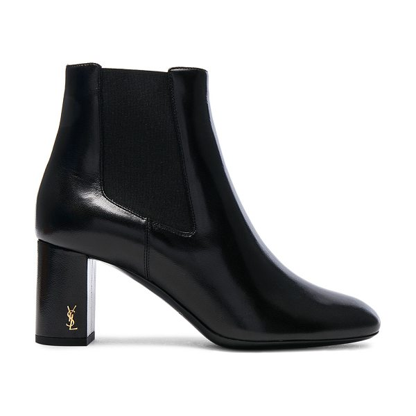 Saint Laurent Leather Loulou Pin Boots in black - Leather upper and sole.  Made in Italy.  Approx 65mm/...