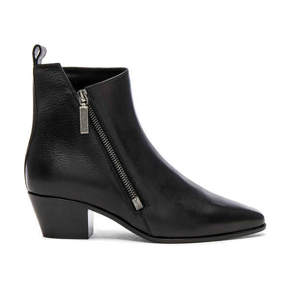 SAINT LAURENT Leather Rock Zip Boots - Leather upper and sole.  Made in Italy.  Shaft measures...