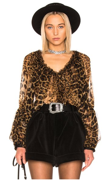 Saint Laurent Leopard Blouse in animal print,brown - 100% silk.  Made in France.  Dry clean only.  Drawstring...