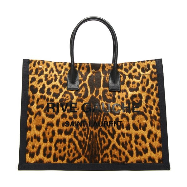 Saint Laurent leopard-print canvas tote bag in leopard